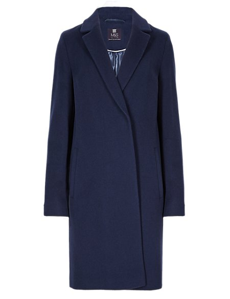 Oversized Wool Blend Double Breasted Coat with Cashmere