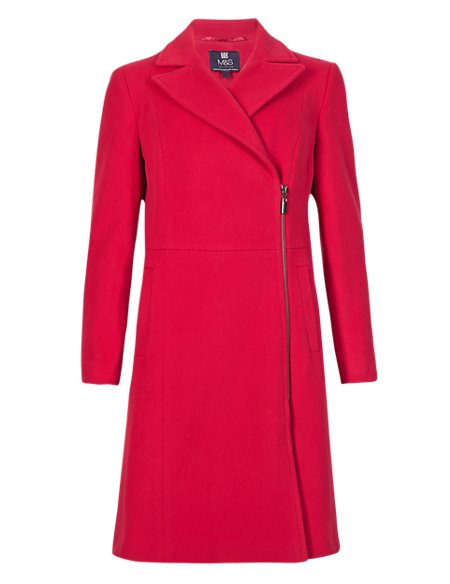 Wool Blend Biker Coat with Cashmere