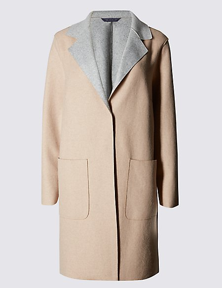 PETITE Double Face Coat with Wool