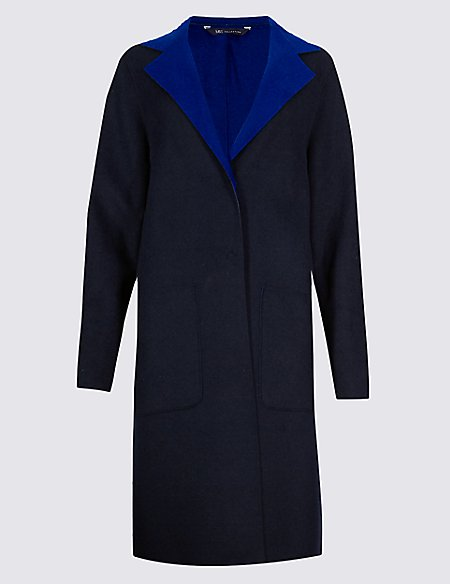 Double Face Unstructured Coat with Wool