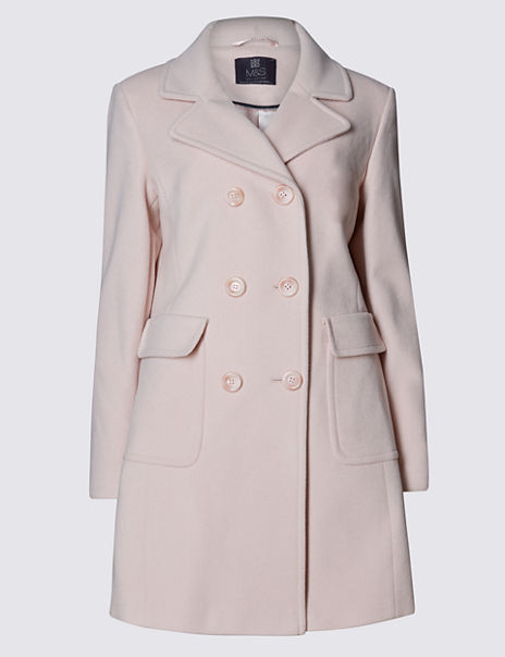 Wool Blend Double Breasted Overcoat with Cashmere