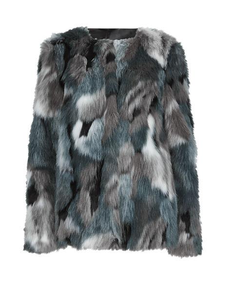 Faux Fur Patchwork Overcoat