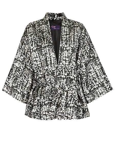 Twiggy for M&S Collection Metallic Effect Kimono Wrap