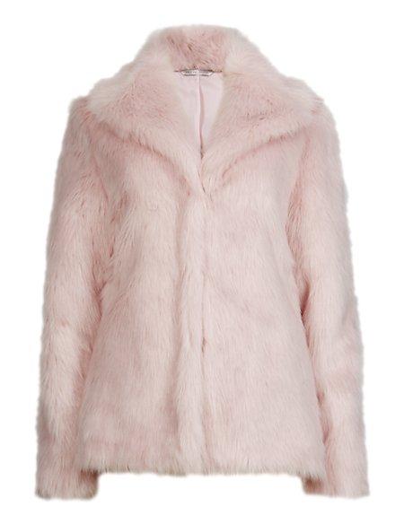 Faux Fur Glossy Overcoat