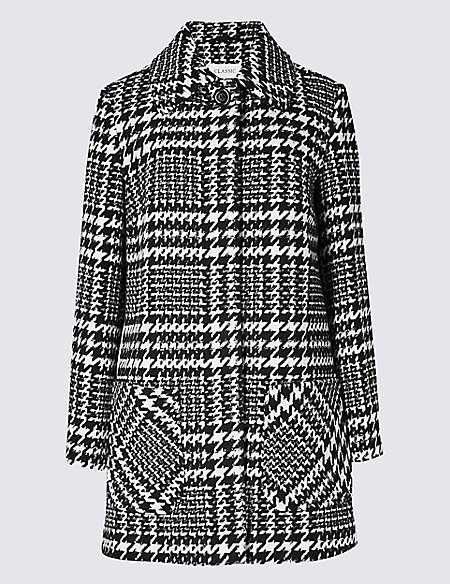 Wool Blend Checked Peacoat