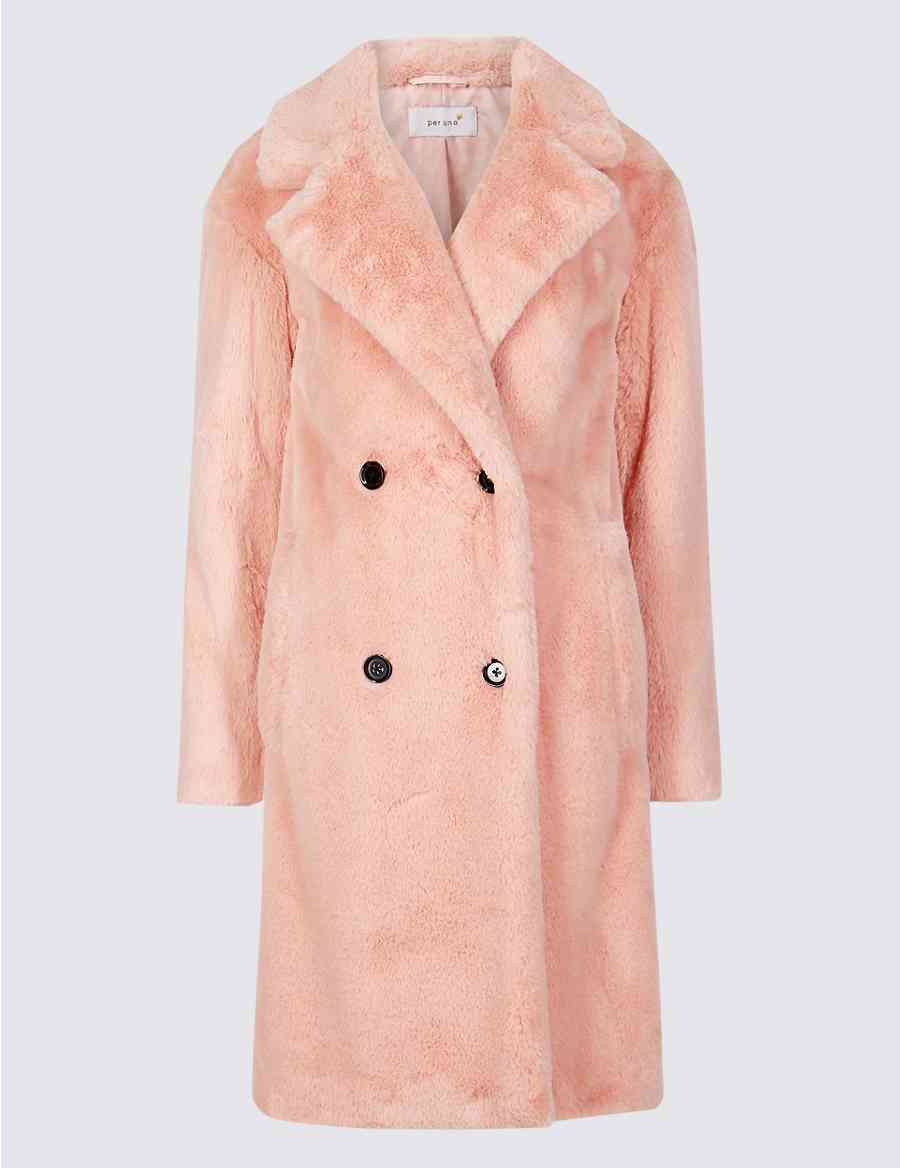 90c67169cb1 Double Breasted Faux Fur Coat