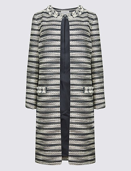Cotton Blend Jacquard Coat multi Marks and Spencer Cheap 100% Guaranteed vUDNto