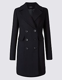 Wool Blend Contrasting Edge Peacoat