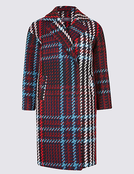 PETITE Double Breasted Checked Coat