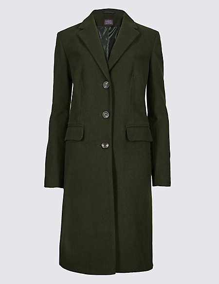 Wool Rich Single Breasted Coat