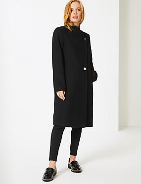 PETITE Double Breasted Funnel Neck Coat