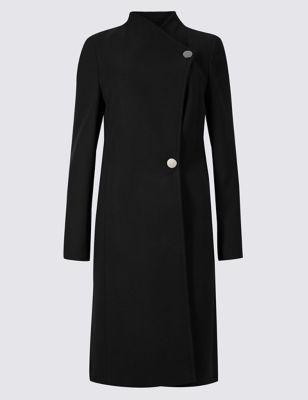 Petite Double Breasted Funnel Neck Coat by Marks & Spencer