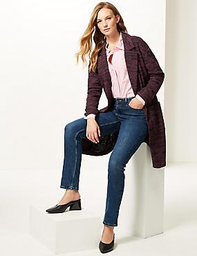Textured longline Open Front coat