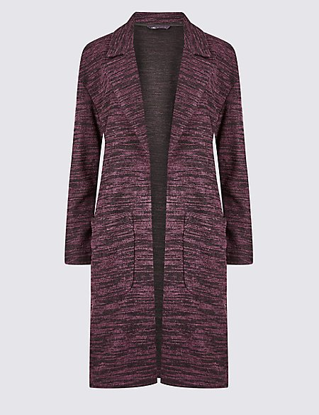 Textured longline Open Front coat