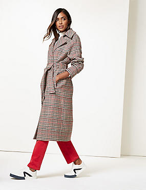 Checked Belted Coat