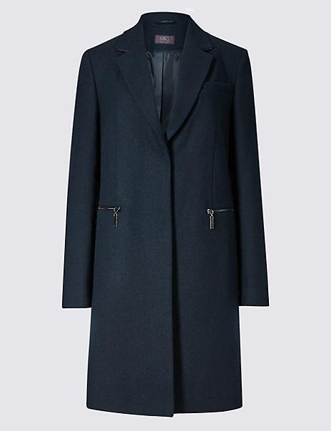 Wool Blend Single Breasted Coat