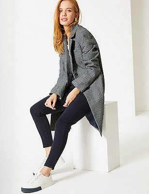 PETITE Wool Blend Checked Coat