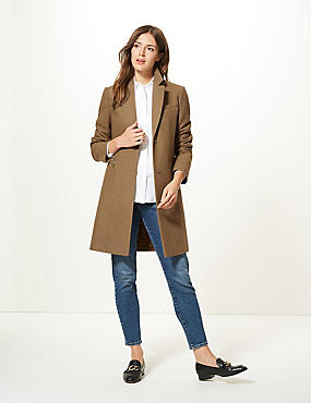 Wool Blend Single Breasted Coat
