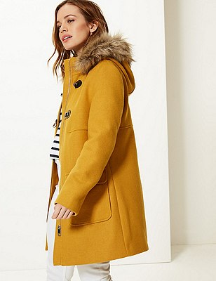 PETITE Faux Fur Duffle Coat