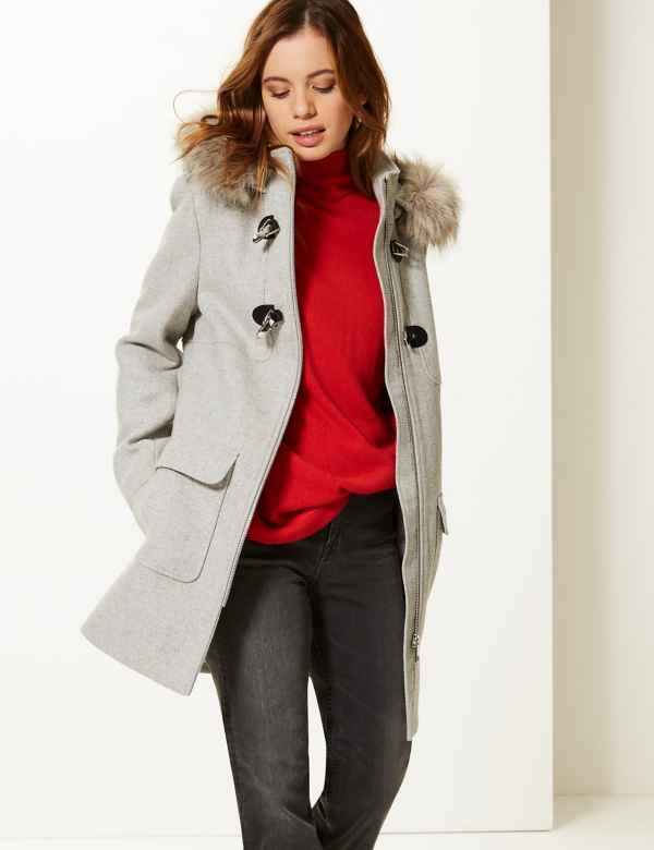 e5eb71212ce PETITE Faux Fur Duffle Coat