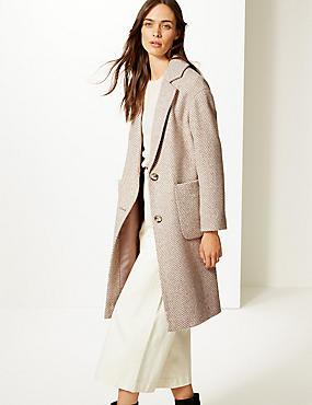 Wool Blend Herringbone Coat