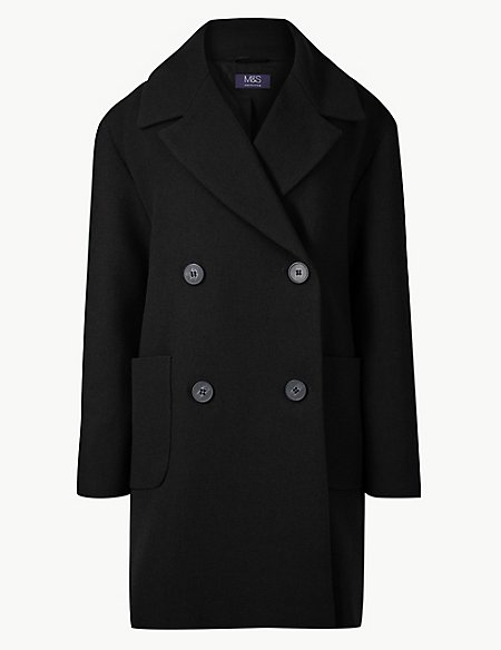 Double Breasted Peacoat with Wool