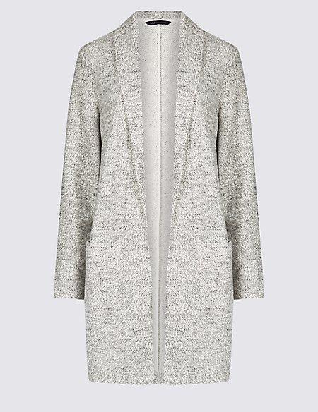 Cotton Rich Textured Open Front Coat