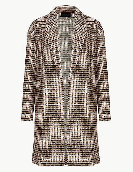 PETITE Textured Unlined Open Front Coat