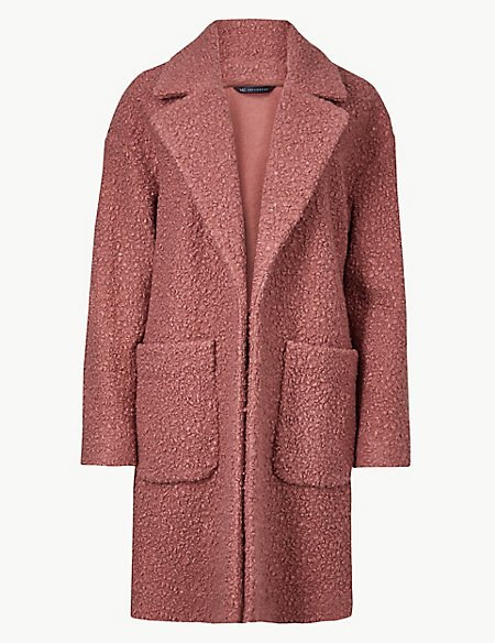 Lightweight Textured Open Front Coat
