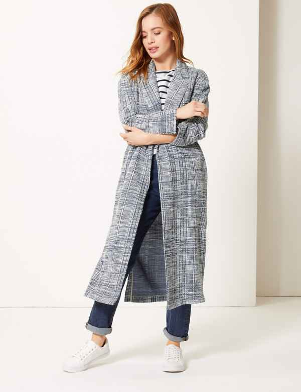 d5b80729c2a1 PETITE Checked Open Front Coat