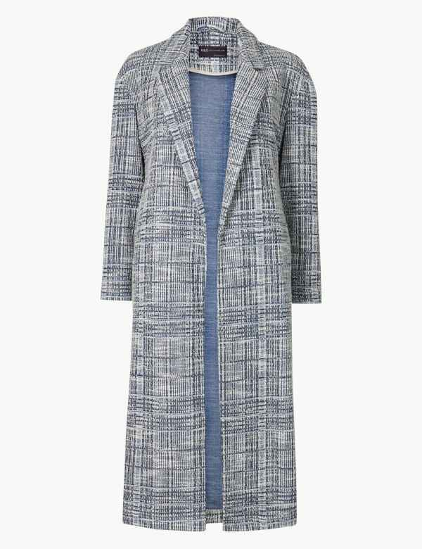 cd8a3934b PETITE Checked Open Front Coat