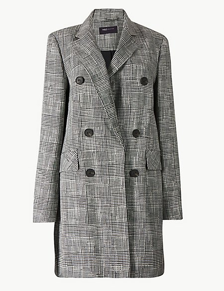 Checked Double Breasted Blazer with Linen