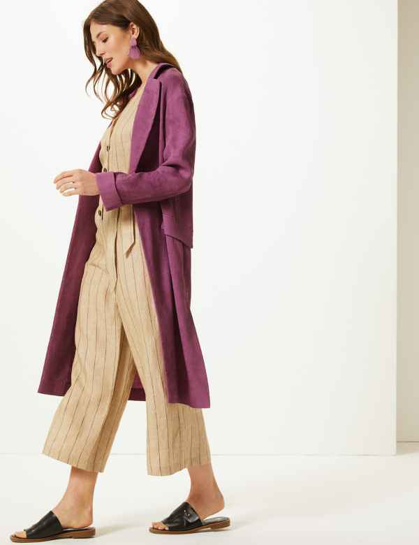 6a5d04356716f Textured Longline Open Front Duster Coat
