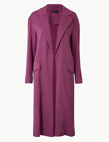Textured Longline Open Front Duster Coat