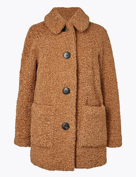 PETITE Borg Faux Fur Coat
