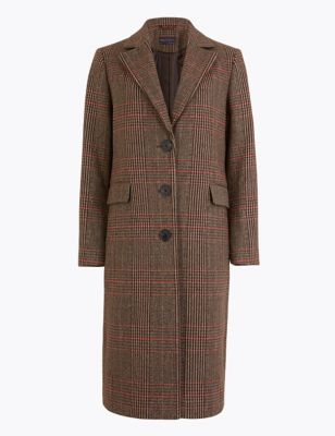 Petite Checked Tailored Coat by Marks & Spencer