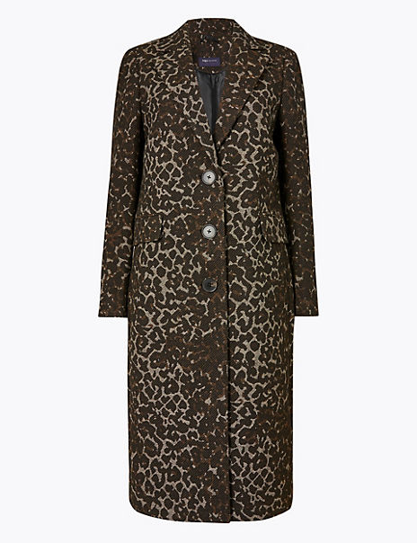 Tailored Jacquard Coat with Wool
