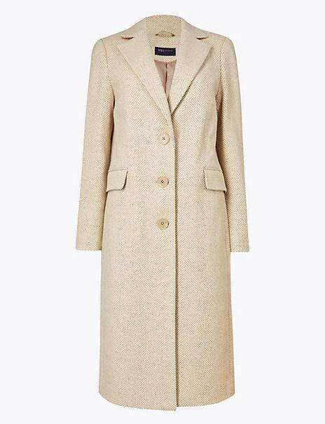 Wool Blend Tailored Herringbone Coat