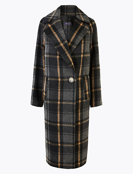 Checked Cocoon Overcoat