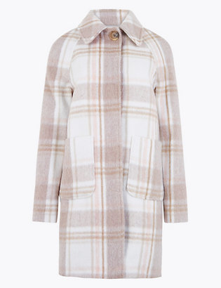 Raglan Checked Car Coat by Marks & Spencer