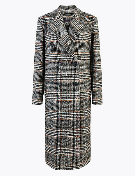 Wool Blend Checked Overcoat