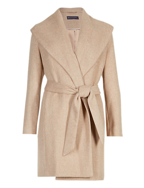 54cda917 PETITE Soft Wrap Front Belted Coat with Wool