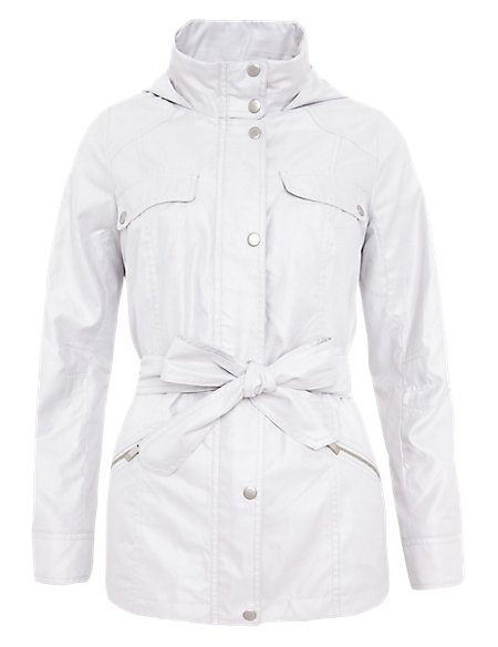 Funnel Neck Belted Parka with Stormwear™