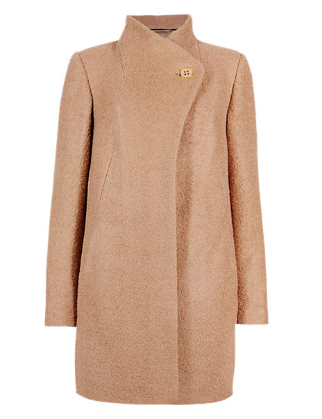 Asymmetric Coat with New Wool