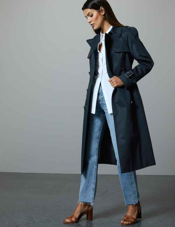 ebd6c4bbd2ba Pure Cotton Double Breasted Trench Coat