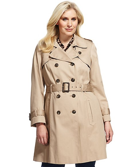 Plus Pure Cotton Double Breasted Belted Trench Coat with Stormwear™