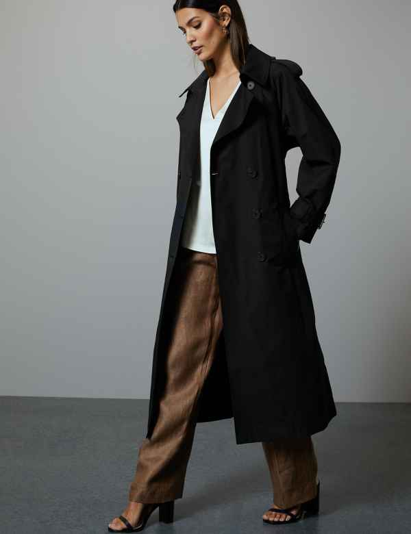 1173d198ea4 Cotton Blend Double Breasted Trench Coat