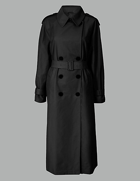 Cotton Blend Double Breasted Trench Coat