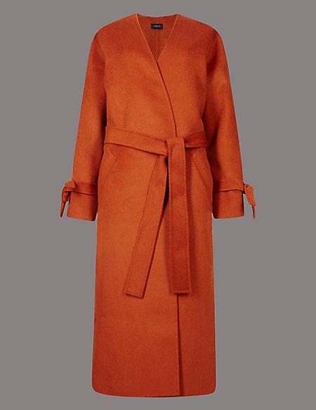 Wool Blend Spilt Robe Coat with Belt