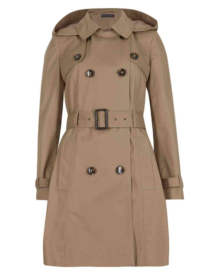 17e1fe2d58efa PETITE Pure Cotton Hooded Longline Trench Coat with Stormwear™